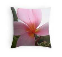 Pretty Pink Frangapani Flower Throw Pillow