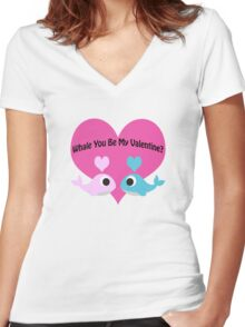 Whale You Be My Valentine? Women's Fitted V-Neck T-Shirt