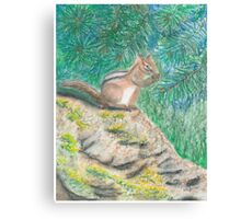 Chipmonk Eating - Oil Pastels Canvas Print