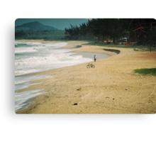 Bike on the beach Canvas Print
