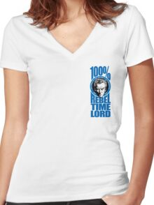 100% Rebel Timelord Women's Fitted V-Neck T-Shirt