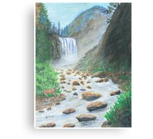 Waterfall - Oil Pastels Canvas Print