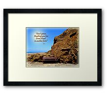 A Seat by the Rock Framed Print