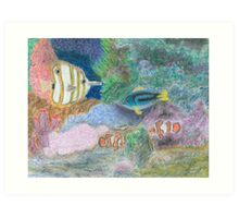The Corel Reef - Oil Pastels Art Print