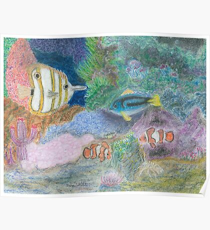 The Corel Reef - Oil Pastels Poster
