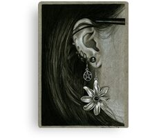 Punk Piercings, Black and White girl fashion earings Canvas Print