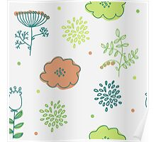 Elegance Seamless pattern with flowers  Poster