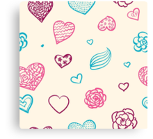 vector hand drawn doodle seamless pattern of hearts Canvas Print