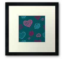vector hand drawn doodle seamless pattern of hearts Framed Print