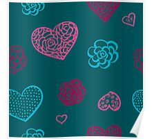 vector hand drawn doodle seamless pattern of hearts Poster