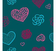 vector hand drawn doodle seamless pattern of hearts Photographic Print