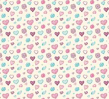 vector hand drawn doodle seamless pattern of hearts by OlgaBerlet
