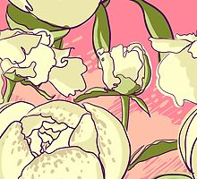 Seamless floral background with peonies by OlgaBerlet