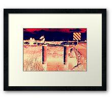 RIVER PYLONS AND SIGNAGE Framed Print