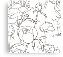Seamless floral background with peonies Canvas Print