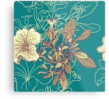 Seamless floral background with peonies Metal Print
