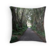 A shaded walk Throw Pillow