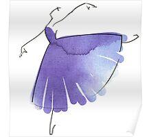 ballerina figure, watercolor Poster