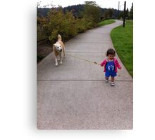 The Tiniest Dog Walker Canvas Print