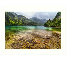 Lake in mountains, in a rainy day Art Print