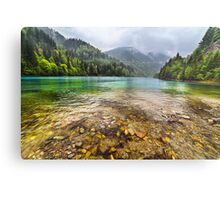 Lake in mountains, in a rainy day Metal Print