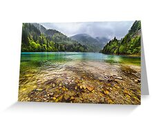 Lake in mountains, in a rainy day Greeting Card