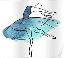 ballerina figure, watercolor Poster