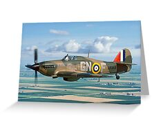 Hurricane IIc LF363 over the Fens Greeting Card