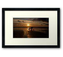 Just walking the dog, Westward Ho!, Devon. Framed Print