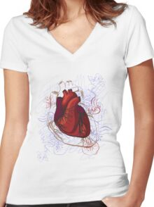 drawing of the heart, anatomical Women's Fitted V-Neck T-Shirt