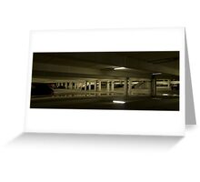 Underground Car Parking Facility at Night Greeting Card