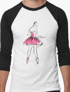 sketch of girl's ballerina  Men's Baseball ¾ T-Shirt