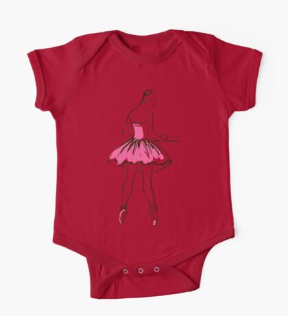 sketch of girl's ballerina  One Piece - Short Sleeve