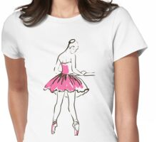 sketch of girl's ballerina  Womens Fitted T-Shirt