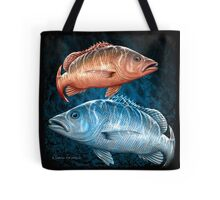 Mangrove Jack on black & blue Tote Bag