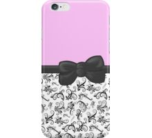 Ribbon, Bow, Damask, Swirls - Black White Pink iPhone Case/Skin