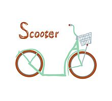 Illustration of vintage vector scooter by OlgaBerlet