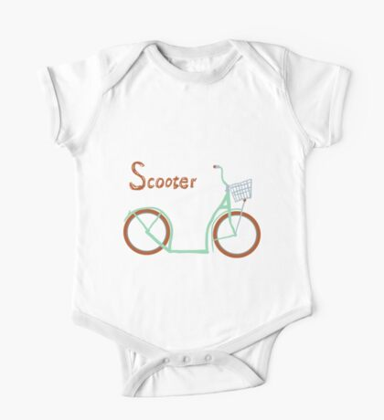 Illustration of vintage vector scooter One Piece - Short Sleeve