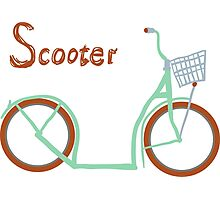 Illustration of vintage vector scooter Photographic Print