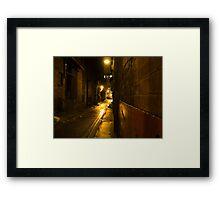 Gloomy Dark Alleyway at Night Framed Print