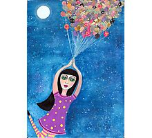 Missy and the Moon Balloons Photographic Print