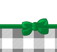 Ribbon, Bow, Gingham Pattern - Gray White Green by sitnica