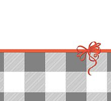 Ribbon, Bow, Gingham Pattern - Gray White Red by sitnica