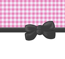 Ribbon, Bow, Gingham Pattern - Pink White Gray by sitnica