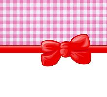 Ribbon, Bow, Gingham Pattern - Pink White Red by sitnica