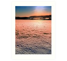 Snow, fields and a winter sunset | landscape photography Art Print