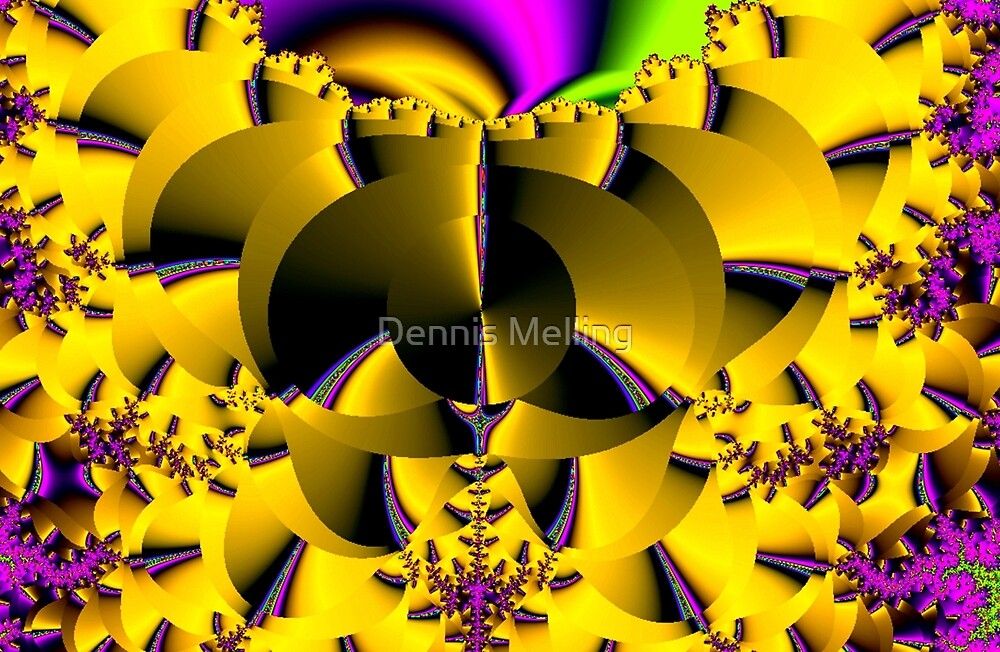 Yellow Fractal (f133)  by Dennis Melling