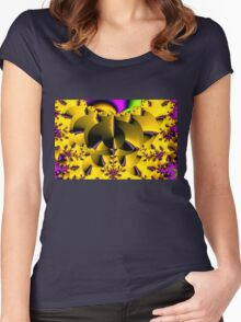Yellow Fractal (f133)  Women's Fitted Scoop T-Shirt