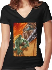 EPIC BATTLE! Women's Fitted V-Neck T-Shirt