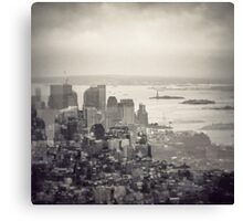 Toned New York Skyline - Double exposition Canvas Print